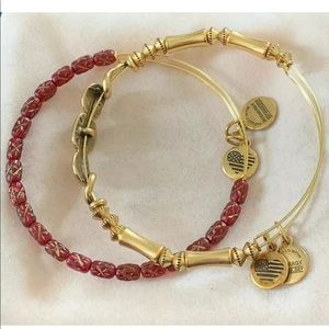 Alex And Ani Set Of Two Gold Tone Wire Bangles